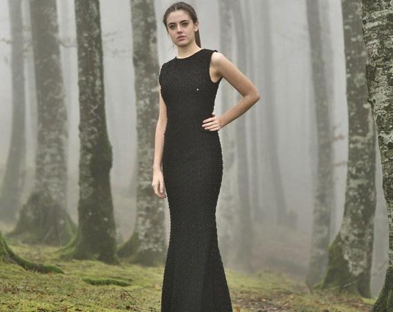 Black Simple Wedding Dress, Goth Bridal Dress, Goth Black Wedding Gown, Mermaid Black Dress, Simple Black Bridal Dress, Low Key Bridal Gown