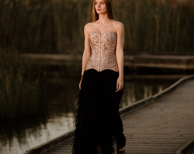 Strapless couture two piece dress for gothic reception, Elegant beige and black bridal dress for goth wedding party Unique blush corset gown