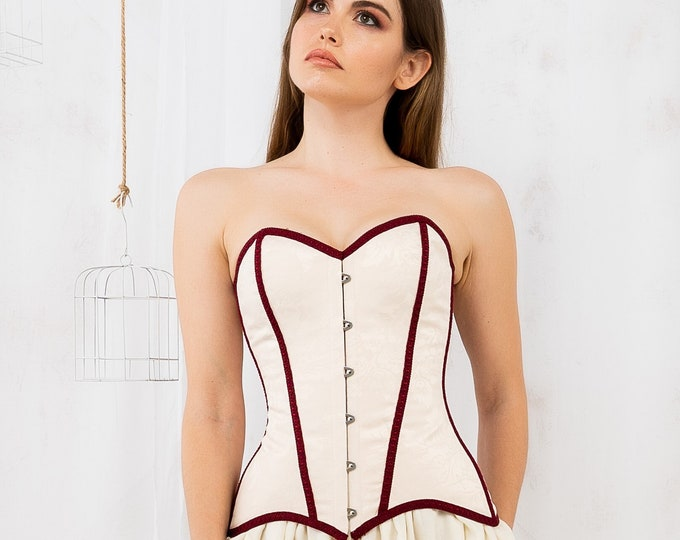 Burgundy and cream corset top for steampunk wedding dress, Victorian style sweetheart boned overbust bodice top, Vintage bridal masquerade