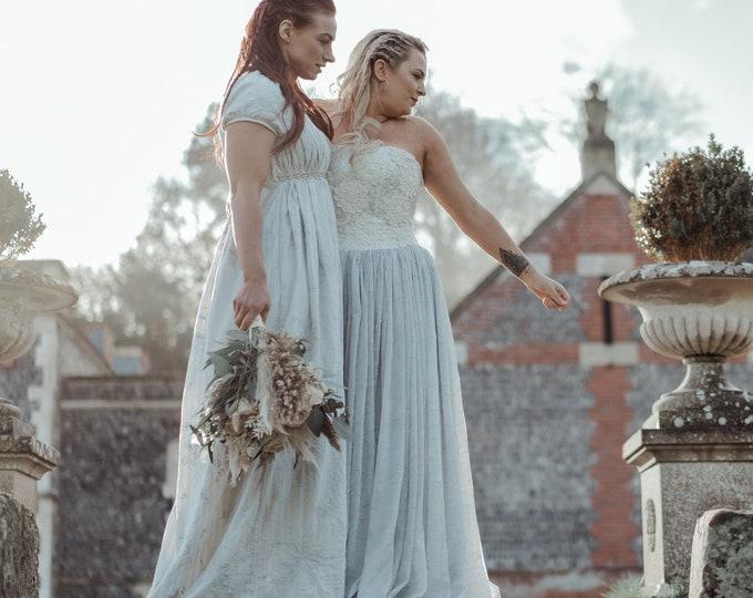 Amazing viking wedding dress made of grey embroidered cotton fabric