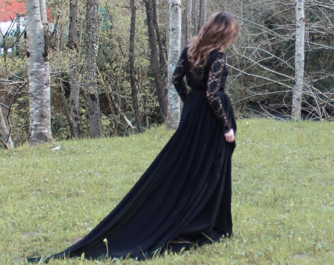 Witchy black wedding dress with long sleeve, Gothic lace bridal dress for relaxed elopement, Black boho goth wedding gown, Minimalist dark