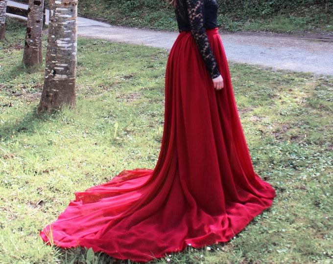 Deep Red Wedding Skirt, A-line Chiffon Skirt, Dark Red Bridal Skirt, Minimalist Elopement Skirt, Hippie Goth Wedding, Deep Red Maxi Skirt