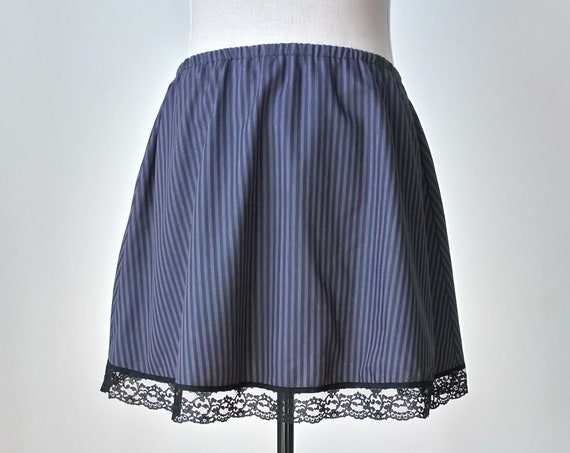 Short pirate skirt, Striped summer festival mini skirt, Pagan purple and green cotton skirt, Witchy gothic clothing, Celtic dark dress