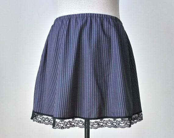 Pirate skirt, Steampunk skirt, Striped summer mini skirt, Festival skirt, Cotton skirt, Purple skirt, Dark green, Witchy gothic clothing