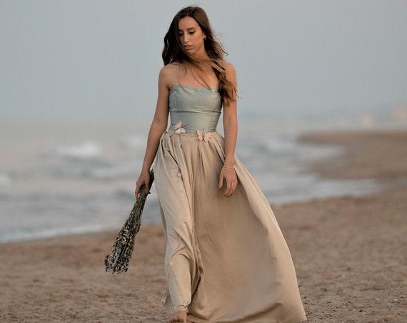 Blue Wedding Dress, Boho Chic Bridal Dress, Alternative Wedding Gown, Ethereal Dress, Simple Wedding Dress,Satin Taffeta Dress,Beach Wedding