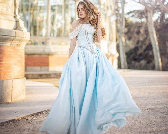Sky blue renaissance princess royal costume gown, High fashion cosplay dress princess, Venice carnival baroque ball dress, Civil war period