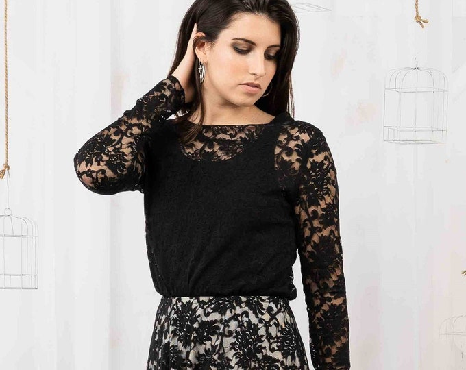 Long sleeve bridal lace top for gothic wedding dress, Black wedding separates for autumn or fall elopement, Alternative reception gown black