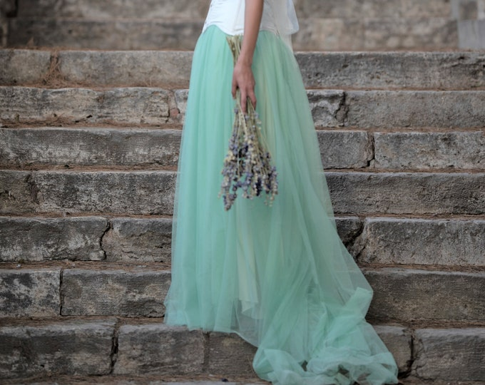 Mint green tulle skirt, Fantasy wedding green skirt, Mint bridal separates skirt with train, Pagan fairy bride skirt, Dusty green wedding