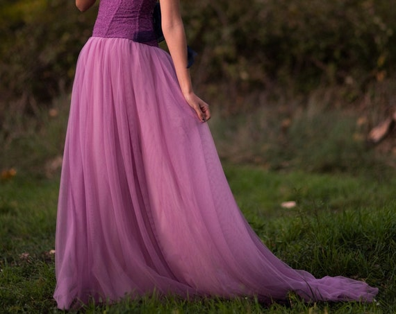 Purple Wedding Skirt, Purple Tulle Skirt, Lilac Wedding Dress, Purple Wedding Dress, Elven Dress Wedding, Fantasy Wedding Skirt with Train