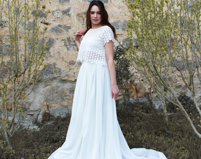 Bohemian wedding dress, Bridal separates gown lace and chiffon, Bridal dress for country elopement, Into the wild wedding gown, Summer bride