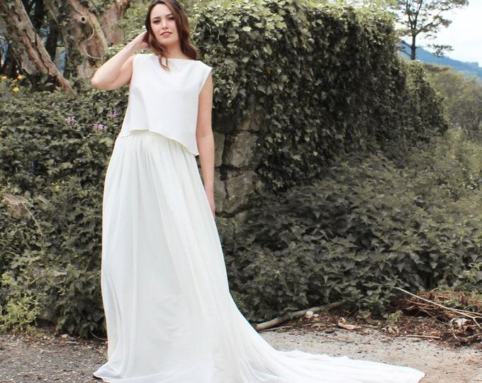 Minimalist wedding dress boho, Simple and elegant bridal dress, Minimal wedding gown Open back bridal gown Destination wedding top and skirt