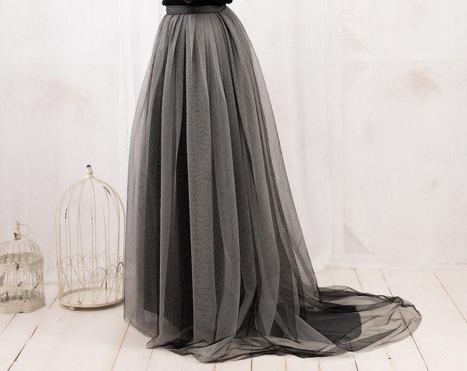 Gothic Wedding Skirt, Tulle Wedding Skirt, Wedding Dress Black and White, Bridal Separates Skirt With Train, Ombre Bridal Skirt, Fantasy