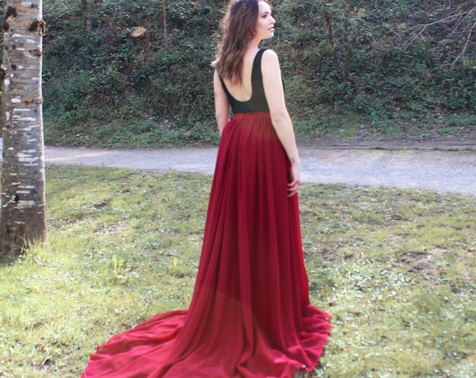 Dark boho elopement dress, Halloween wedding dress, Gothic bridal dress red, Dark and moody elope, Black and red dress goth bride, Burgundy
