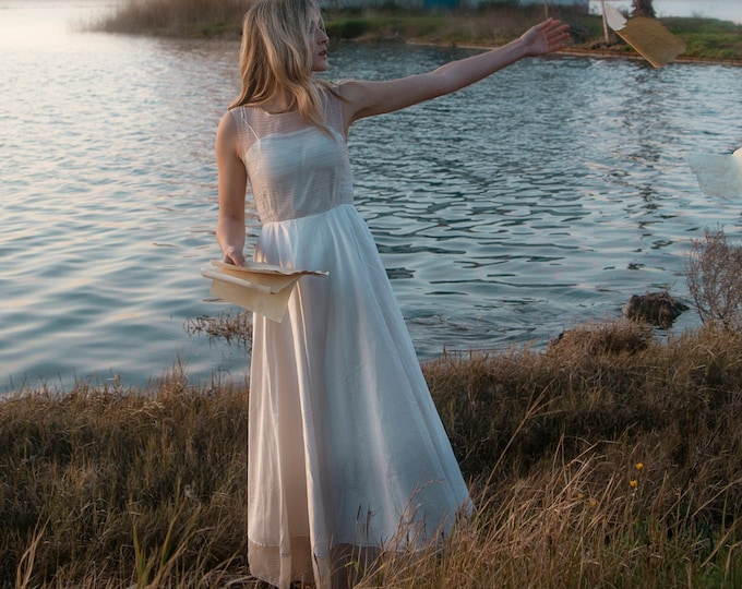 Cottagecore wedding dress for rustic woodland elopement, Minimal fit and flare silk maxi gown for boho chic bride One of a kind bridal dress