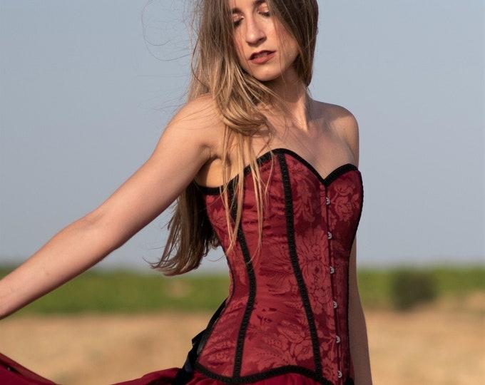 Maroon corset top for gothic wedding dress, Ruby overbust corset, Burgundy bridal top Brocade strapless corset top Victorian vampire bustier