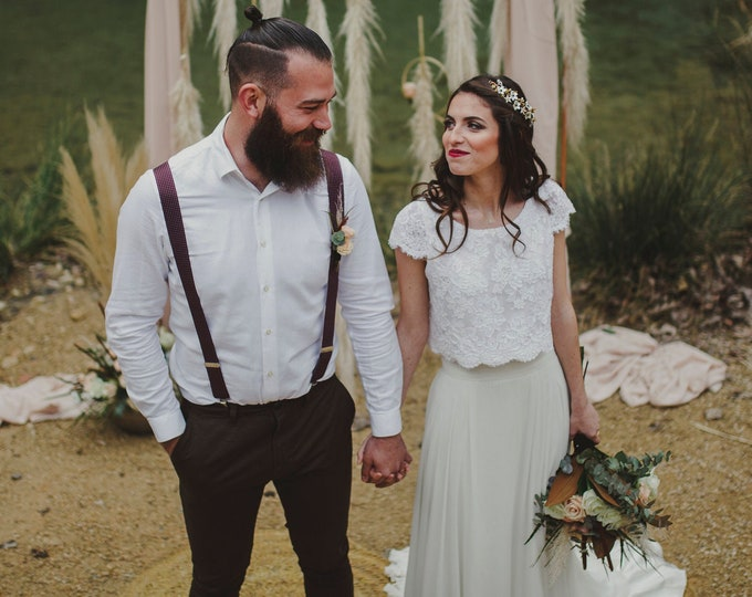 Boho wedding dress separates for woodland relaxed ceremony, Lace and chiffon bridal gown for fall moody destination elopement, Pagan viking