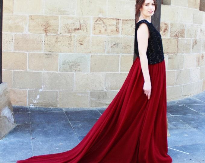 Fall Boho Wedding Dress, Black and Red Boho Bridal Dress, Boho Black Wedding Dress, Dark Boho Bridal, Burgundy Fall Wedding Gown, Goth Bride