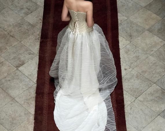 Wedding Ball Skirt, Ivory Satin Skirt, Wedding Train Skirt, Ivory Organdy Skirt, Princess Wedding Skirt,Bridal Separates,Alternative Wedding