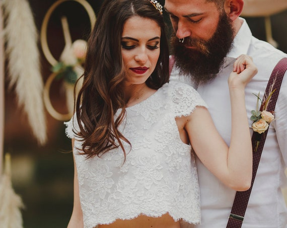 Wedding Crop Top, Bridal Lace Crop Top, Boho Wedding Top, White Lace Top, Chic Wedding Top, Beach Wedding, Rustic Wedding, Country Wedding