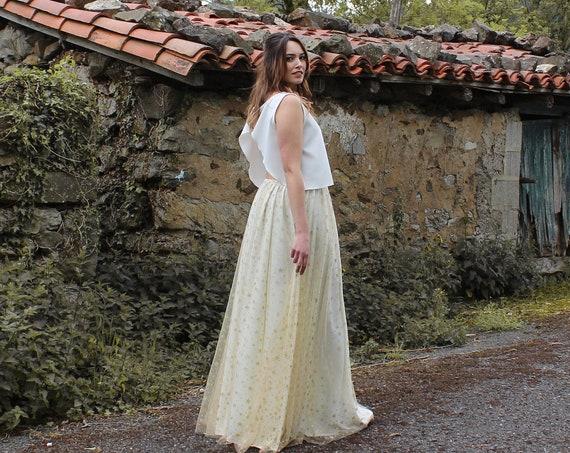 Celestial Boho Wedding Dress, Stars Wedding Dress, White and Gold Bridal Dress, Celestial Bride, Boho Bridal Separates Top and Skirt, Starry