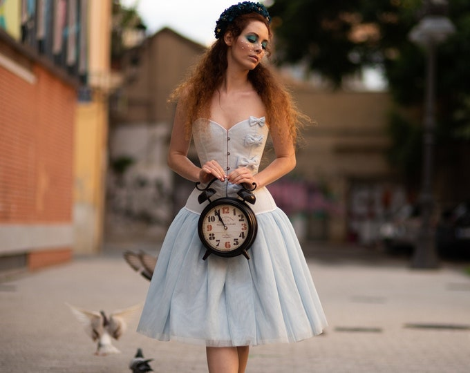 Alice Blue Wedding Dress, Short Wedding Gown, Tulle Blue Bridal Dress, Short Wedding Corset Dress, Wonderland Wedding Dress, Pale Blue Dress