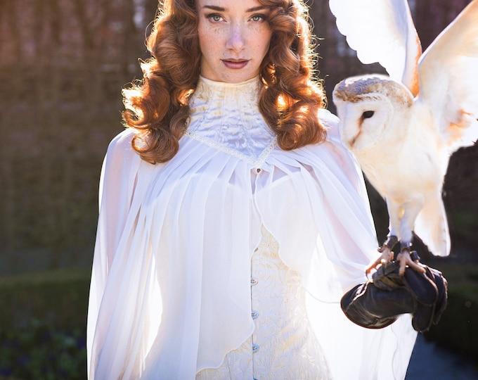Elven bridal cape, High neck cape, Fantasy wedding cape, Elf bridal capelet, Neck corset cloak, Wedding wing cape, Elven wedding dress ivory