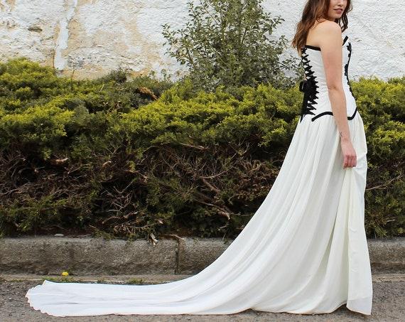 Ivory wedding skirt, Wedding full length skirt, Chiffon bridal skirt, Deep skirt bridal separates, Alternative wedding, Wedding maxi skirt
