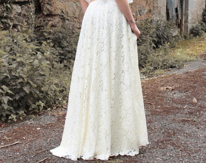 Lace wedding skirt for destination wedding, Boho bridal skirt separate for festival wedding into the woods, Bohemian maxi skirt for bride