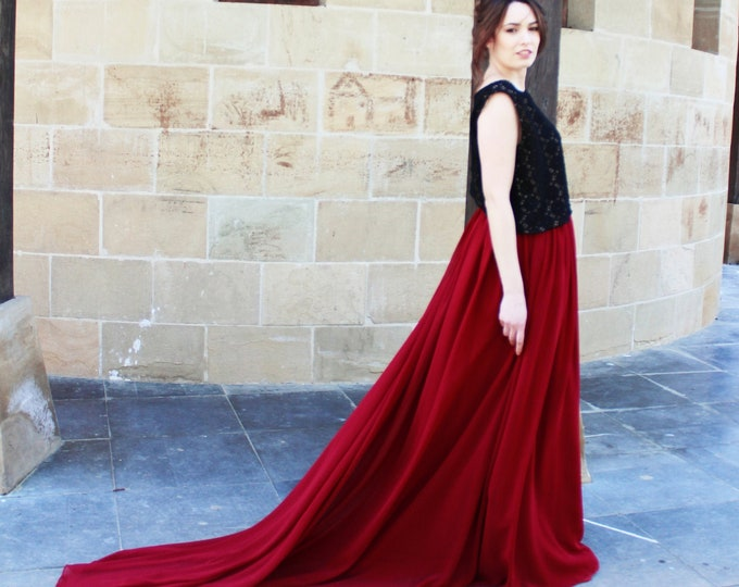 Dark red and black wedding dress, Boho goth bridal dress, Marsala wedding separates dress for fall wedding, Burgundy bridal gown, Dark moody