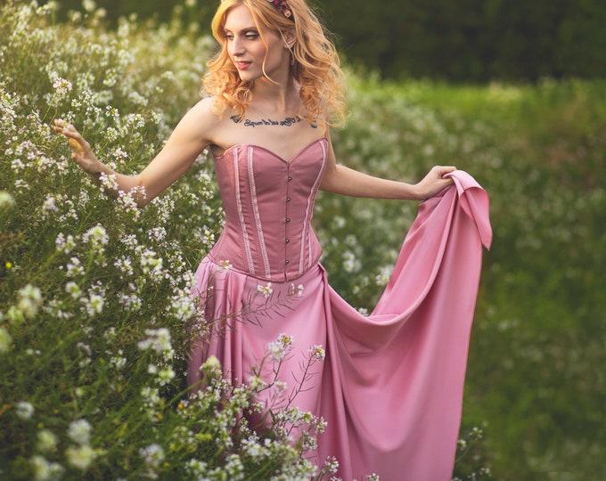 Faerie Wedding Dress Skirt, Pink Wedding Dress Satin Skirt, Fairy Tale Fantasy Wedding, Boho Festival Fashion, Alternative Asymmetric Skirt