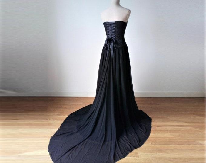 Wedding Dress Black, Gothic Wedding Gown, Black Wedding Dress Gothic, Corset Top Bridal Dress, Black Bridal Dress for Bride, Goth Wedding