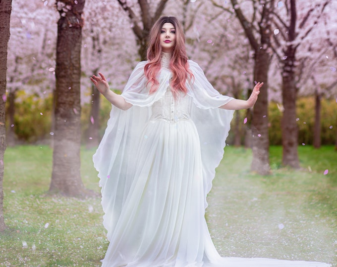 Elven wedding dress with cape, Magic white elf dress, Elven wedding gown, Beltane wedding dress, Elfic dress for women Made to order costume