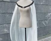 Ivory chiffon bridal cape for elven bride costume, Black and white medieval elf wedding cloak, Viking princess long cape for wedding elope