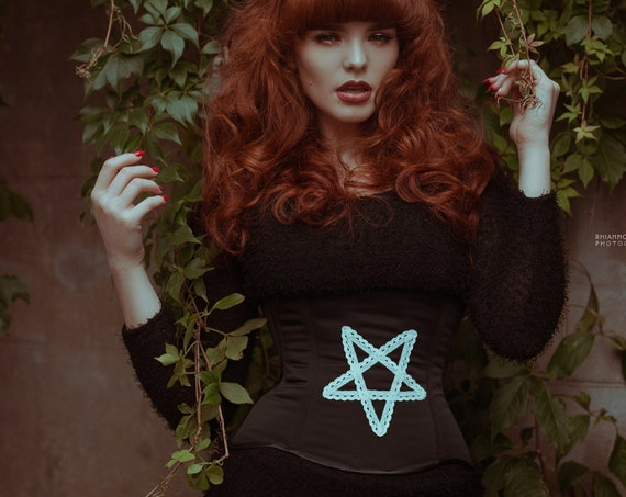 Occult Corset, Gothic Corset, New Year Prom Clothing, Nugoth Corset, Underbust Corset, Pentagram Corset, Witchcraft Clothing, Pagan Corset