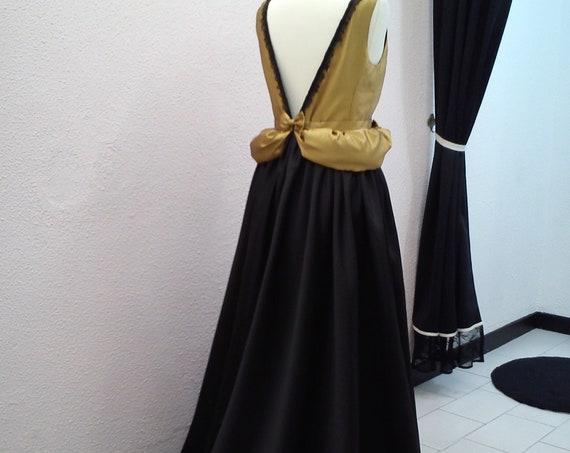 Black Wedding Dress, Gold Wedding Dress, Mother Of The Bride Dress, Gothic Wedding, Black And Gold dress, Victorian Wedding, Regency Dress