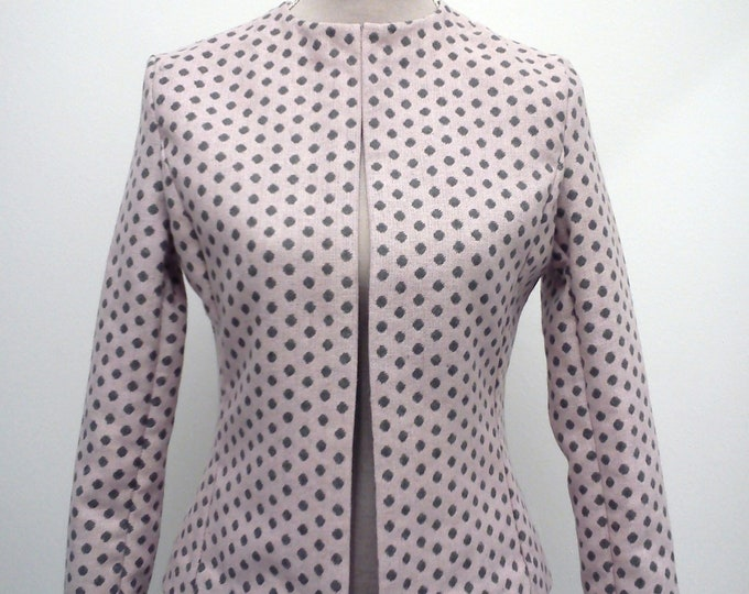 Wool Pink Jacket, Polka Dot Bolero Jacket, Wool Short Coat, Dotted Jacket, Woman Pink Blazer, Wool Clothing, Elegant Jacket, Clearance Sale