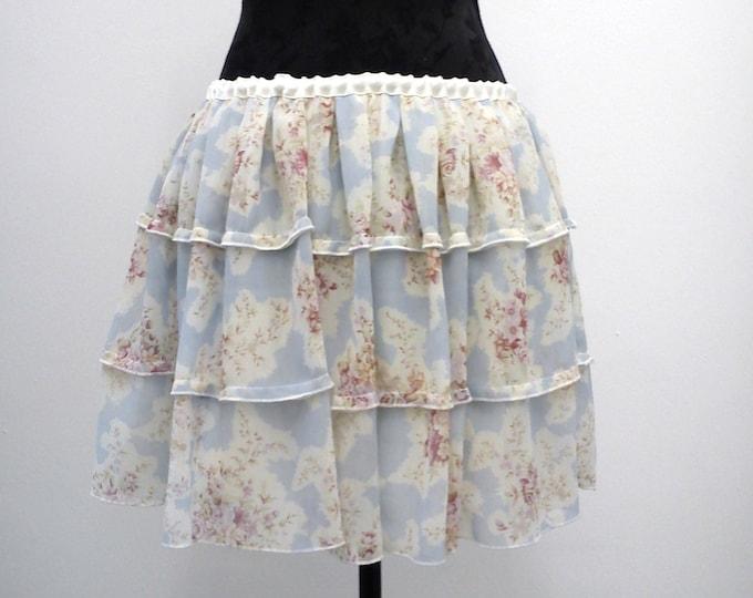 Boho floral chiffon mini skirt for summer holidays, Tiered blue floral romantic mini skirt for beach, Pastel bohemian short ruffled skirt