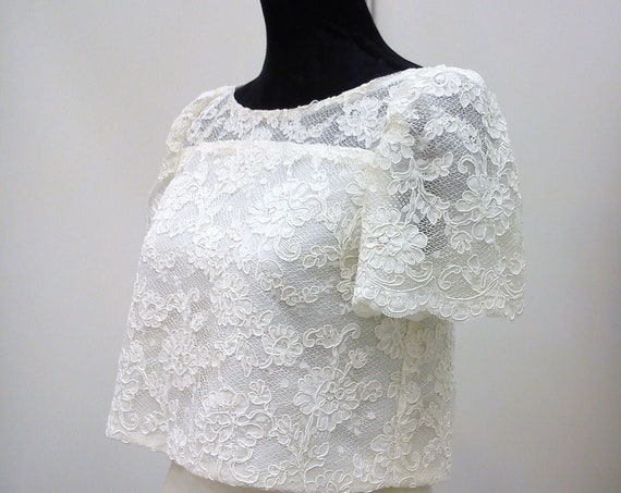 Lace Crop Top, Wedding Crop Top, Short Sleeve Top, Bridal Separates Top, Wedding Top, Boho Chic Wedding, Bridal Crop Top, Open Back Top
