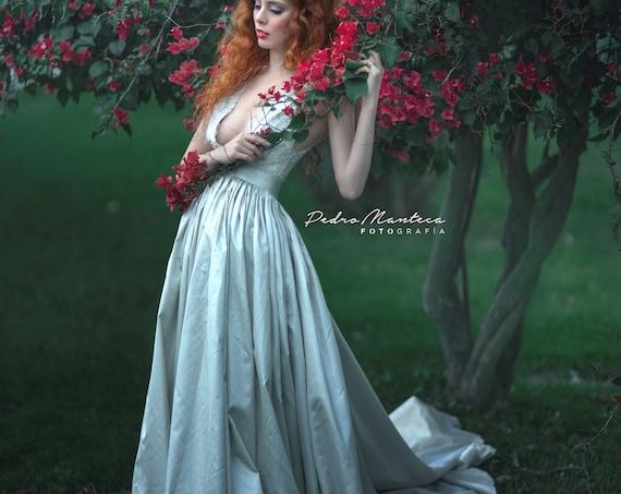 Fantasy Wedding Dress, Grey Elven Wedding Dress, Beaded Wedding Gown, Long Train Dress, Ball Wedding Dress, Princess Wedding, Woodland Dress