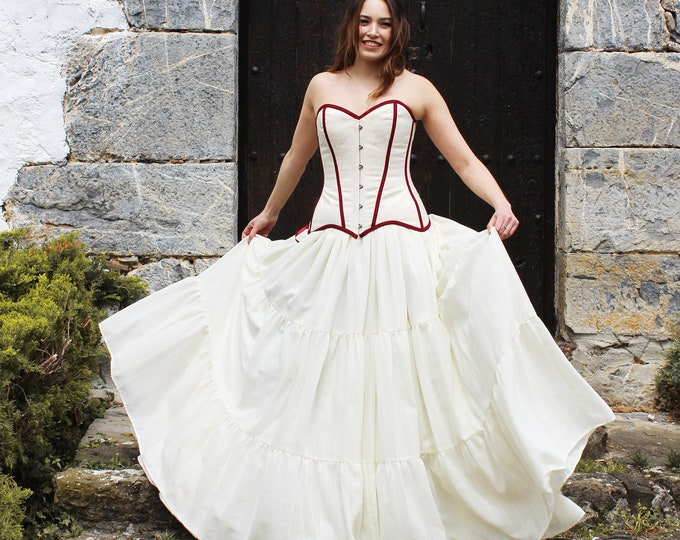 Bohemian gipsy wedding dress, Beige and maroon bridal dress, Wedding gown with tiered skirt, Gipsy bridal dress with corset, Hippie 70s gown
