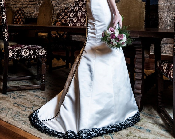 Black And White Wedding Dress, Gothic Wedding Gown, Steampunk Wedding Dress, Alternative Wedding Dress, Mermaid Bridal Dress, Satin Dress