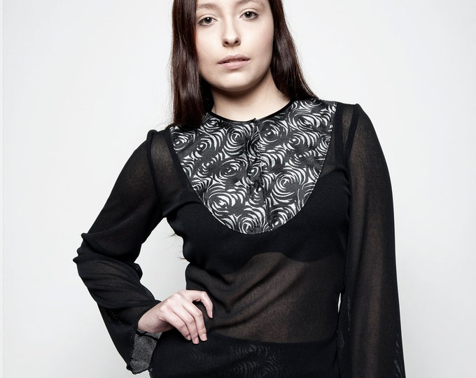 Gothic black blouse, Black and grey long sleeve blouse, Brocade top, Knit top, Every day goth, Casual goth, Confort elegant top