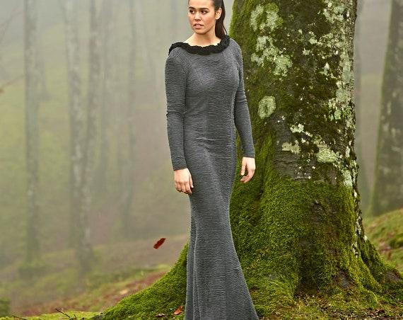 Grey Mermaid Dress, Minimalist Dress, Grey Knit Dress, Longsleeves Dress, Modern Witch Dress, Pagan Wedding Dress, Nugoth, Viking Wedding