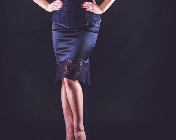 Gothic Midi Skirt, Wedding Guest Skirt, Black Satin Skirt, Mother Of The Bride Skirt, Steampunk Wedding, Pencil Skirt For Women, Black Lace