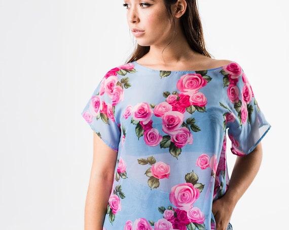 Floral Blouse, Blue Chiffon Top, Summer Blouse, Short Sleeve Top, Loose Blouse, Elegant Cocktail Top, Flower Blouse, Women Romantic Top,Sale