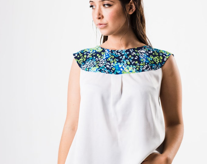 White Satin Top, Summer Blouse, Colorful Collar Top, Loose Blouse, Bohemian Clothing, Sleeveless Top, Preppy Top, White Formal Blouse