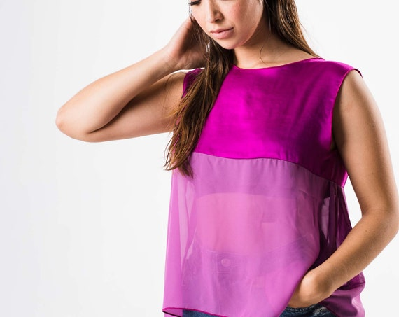 Fuchsia blouse, Summer blouse, Colorful blouse, Sleeveless top, Spring clothing, Bougainvillea blouse, Fuchsia satin blouse, Cool blouse