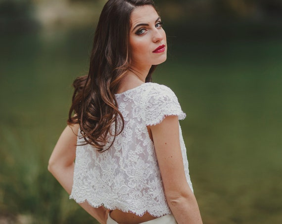 Lace wedding crop top made of ivory lace with silk organdy great wedding blouse for beach or bohemian wedding perfect bridal separates