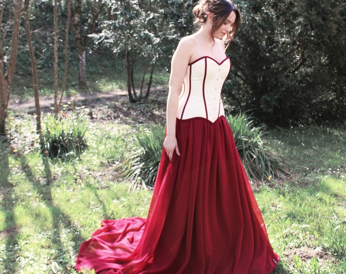 Burgundy and cream sweetheart prom dress with train for dark enchanted fairytale wedding elopement in the woods this halloween