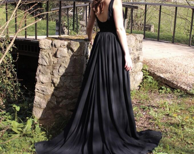 Black Boho Wedding Dress, Boho Goth Wedding Gown, Black Lace Wedding Dress, Dark Boho Halloween Elopement, Outdoor Goth Wedding, Goth Boho